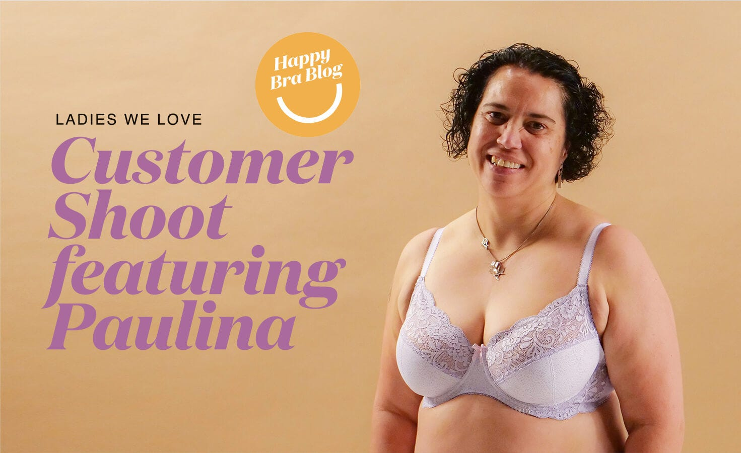 Woman Smiling in Rose & Thorne Comfortable Bra made in NZ