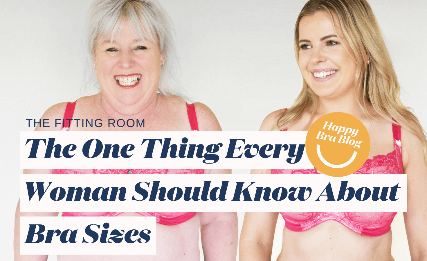 Two ladies smiling in bras with title text