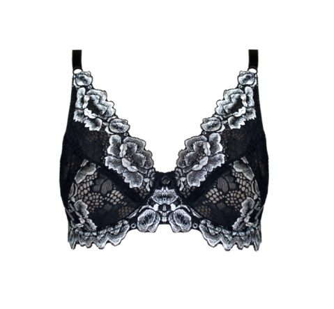 Two Tone Lace Bra Black & Grey