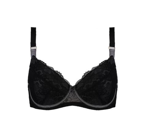 Enhanced Support Contrast Bra Black
