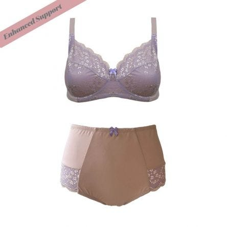 Set Enhanced Support Contrast Lace Bra and Midi Short Macaroon