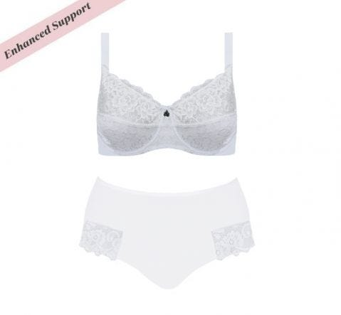 Enhanced Support Dahlia Lace Set White