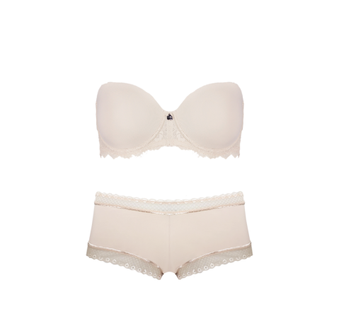 Strapless Boyleg Short Set Cafe Latte