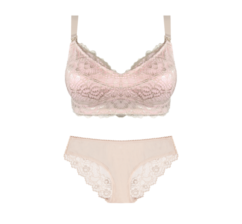 Maternity Bra Almond & Blush Bikini Brief Set