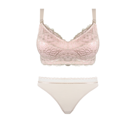 Maternity Bra Almond & Blush Thong Set